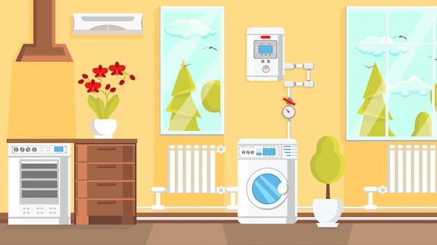 Illustrazione piana di vettore di interior design della cucina.