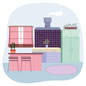 Piante della moquette della finestra delle sedie delle sedie interne della cucina