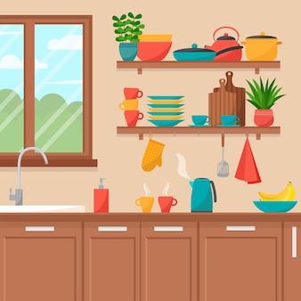 Interno della cucina. scaffali con utensili da cucina, illustrazione vettoriale