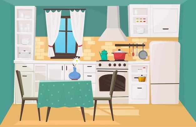 Interiore della cucina nel design classico tradizionale