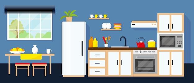 Interiore della cucina con tavolo e finestra dell'apparecchiatura