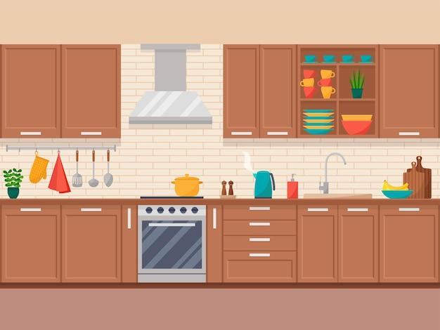Interno della cucina con mobili, attrezzature e stoviglie in stile piatto, illustrazione vettoriale
