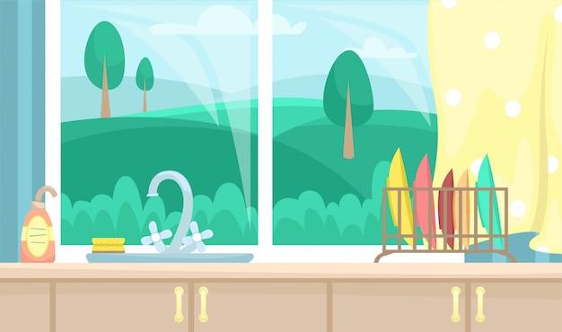 Interno cucina con armadi in legno. affondare vicino alla finestra con una bellissima vista. illustrazione piatta.
