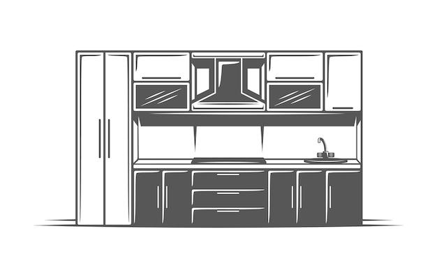 Cucina isolata su sfondo bianco