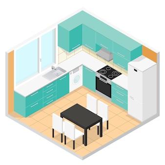 Cucina isometrica interni con mobili. illustrazione