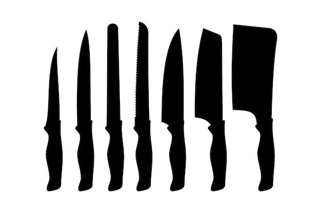 Insieme dell'icona di vettore della siluetta del coltello da cucina. set coltelli da macellaio per macelleria. coltello illustrazione vettoriale in stile piatto