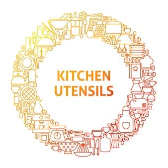 Cucina linea icona cerchio concetto. illustrazione vettoriale di utensili da cucina ed elettrodomestici.