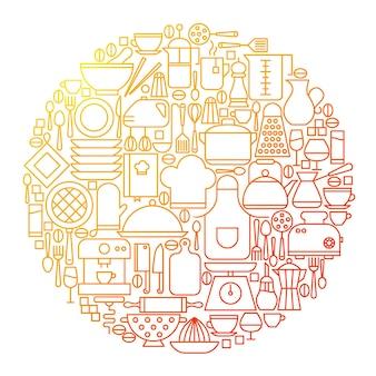 Disegno del cerchio dell'icona della linea della cucina. illustrazione vettoriale di utensili da cucina ed elettrodomestici.