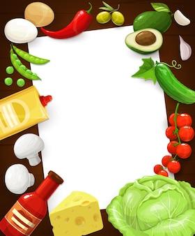 Nota della ricetta della cucina, pagina di cottura nella cornice dell'alimento, modello vuoto.