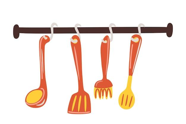 Utensili da cucina e da ristorante spatola frusta colino cucchiaio vector set posate da cucina appese