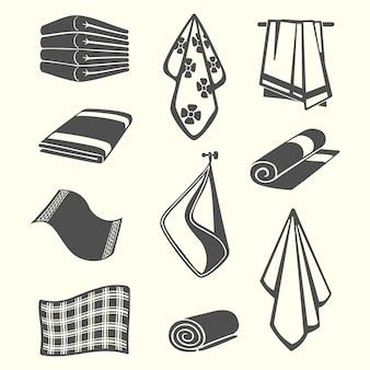 Asciugamani da cucina e servizio in camera, tovaglioli, illustrazione tessile isolato