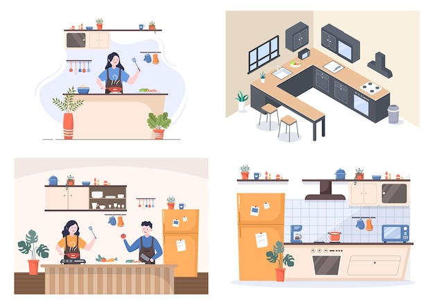 Stanza della cucina con mobili e qualcuno sta cucinando l'illustrazione di vettore del fondo dell'alimento