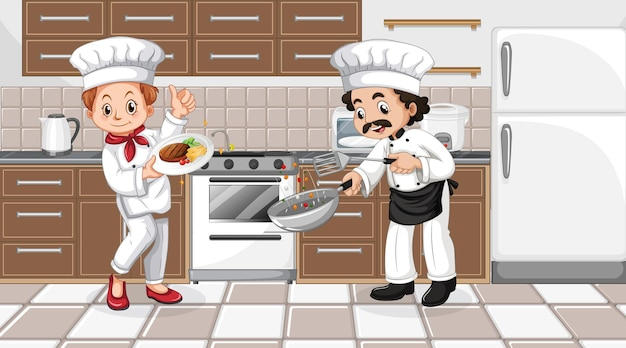 Scena della cucina con il personaggio dei cartoni animati di due chef