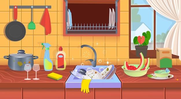Lavello da cucina con piatti sporchi