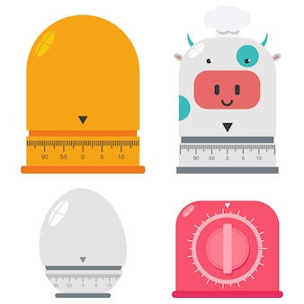 Set di cartoni animati timer da cucina isolato su uno sfondo bianco.