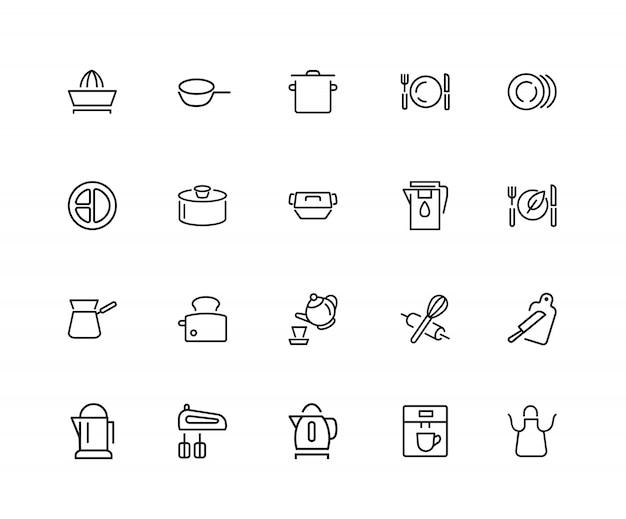 Icone dello strumento da cucina. set di venti icone di linea. tostapane, mixer, grembiule.