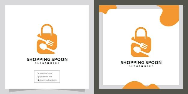 Design del logo della borsa della spesa degli attrezzi da cucina
