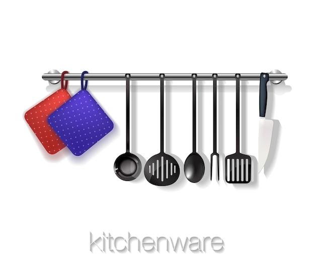 Utensili da cucina con stoviglie su sfondo bianco. vettore