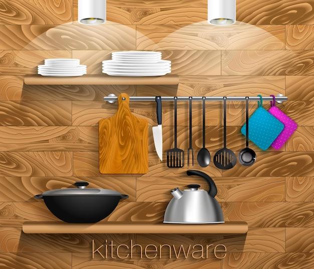 Utensili da cucina con stoviglie e tavola di legno mensola su una parete di legno con utensili vector