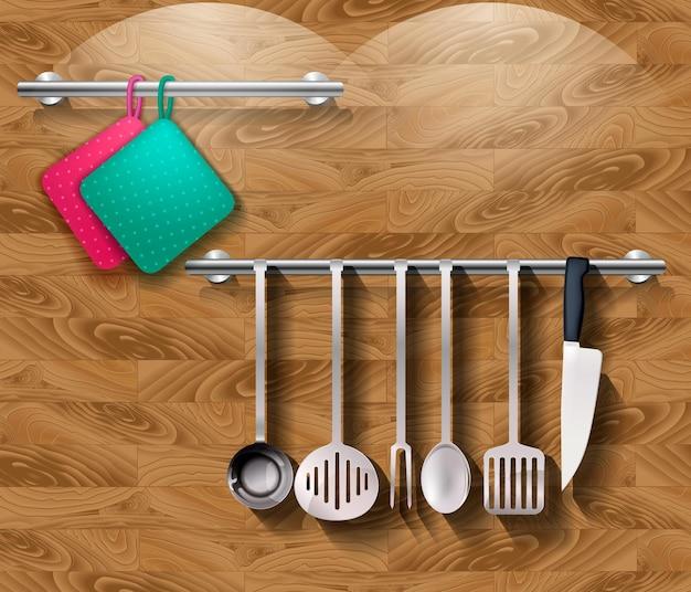 Utensili da cucina con stoviglie su una parete in legno. vettore