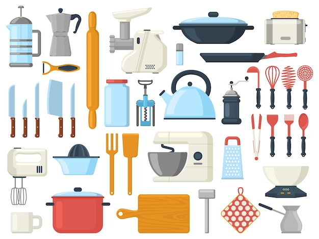 Utensili da cucina, utensili da cucina per servire la cucina, simboli di posate. utensili da cucina, utensili, set di illustrazioni vettoriali per stoviglie. collezione di elementi di strumenti culinari
