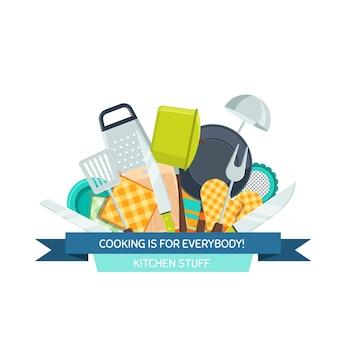 Icone piane di utensili da cucina sotto l'illustrazione del nastro isolato su priorità bassa bianca