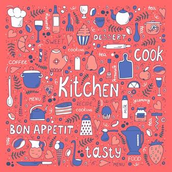 Utensili da cucina e cibo, simboli disegnati a mano e scritte.