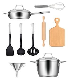 Utensili da cucina. pentole pentola in acciaio bistecchiere coltelli articoli per cucinare cibo immagini realistiche impostate. illustrazione utensile da cucina in acciaio, cucina stoviglie
