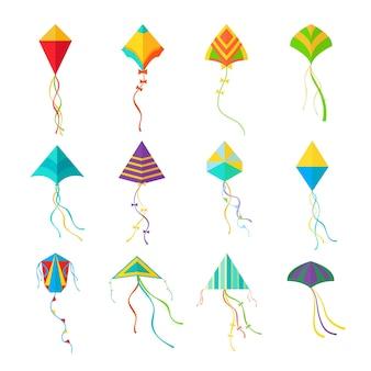 Set di aquiloni. dispositivi geometrici colorati per il lancio in cielo per i bambini