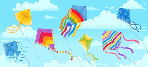 Aquiloni in cielo. cieli blu e nuvole estive con aquilone su corda che vola nel vento. bandiera del festival degli aquiloni. fondo di vettore di hobby di divertimento all'aperto. aquilone dell'illustrazione nel cielo dell'aria, diversi giocattoli all'aperto