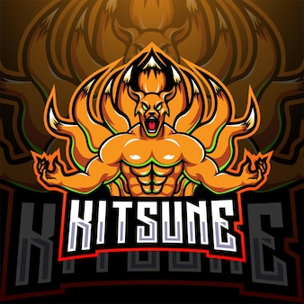 Logo della mascotte di kitsune esport