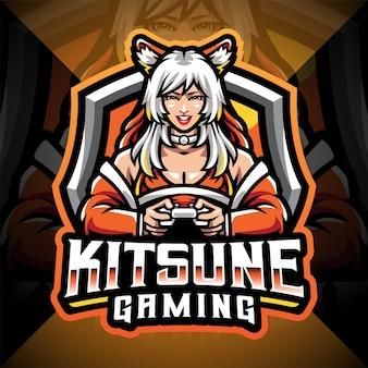 Design del logo della mascotte dell'esportazione di giochi kitsune