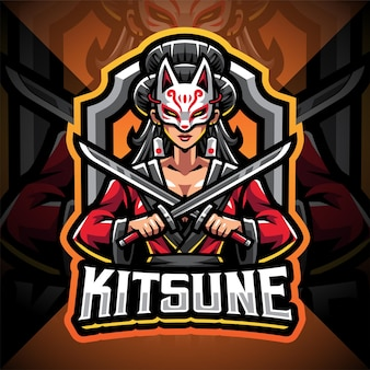 Kitsune ragazza esport mascotte logo design
