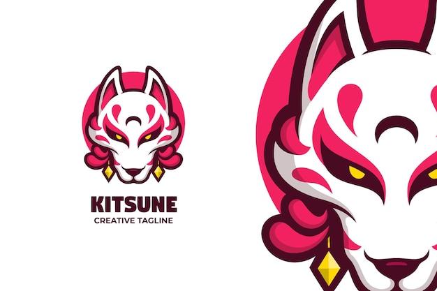 Personaggio del logo della mascotte della creatura della mitologia giapponese di kitsune