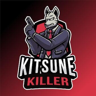 Modello di logo di kitsune killer