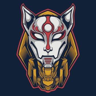 Kitsune logo maskot giapponese