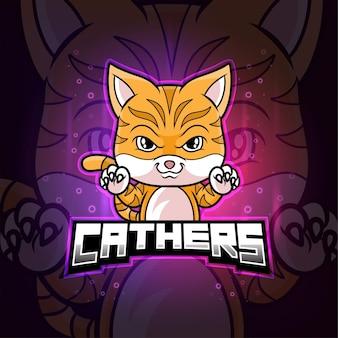 Gattino cattura mascotte esport logo colorato