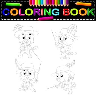 Gattino moschettiere con spada da colorare