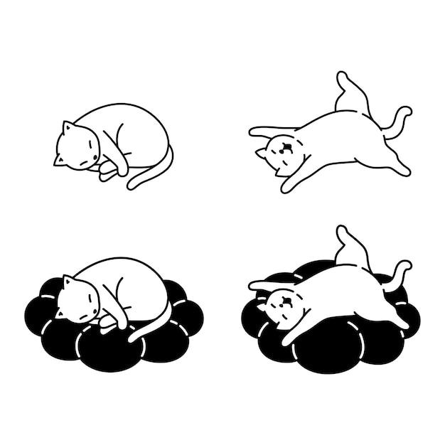Personaggio dei cartoni animati di gattino che dorme cuscino