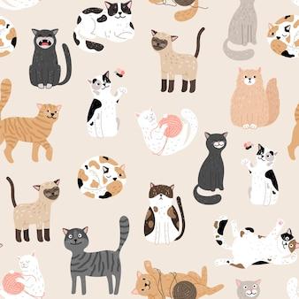 Kitty seamless pattern.