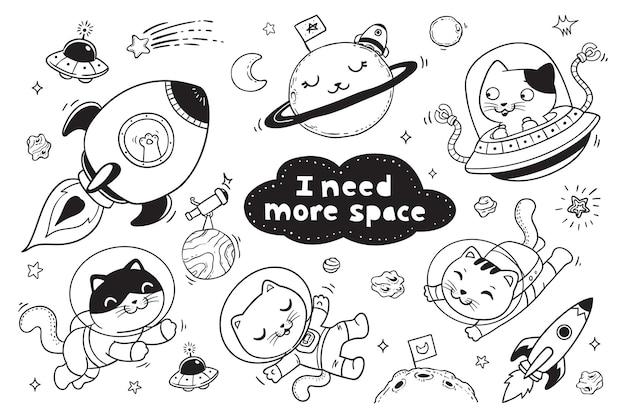 Gattino nello spazio doodle per bambini