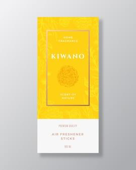 Kiwano frutta profumo per la casa astratto vettore etichetta modello schizzo disegnato a mano fiori foglie backgrou...