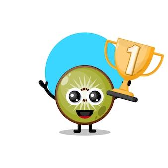 Trofeo di kiwi simpatico personaggio mascotte