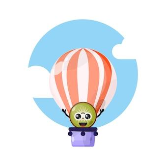 Kiwi mongolfiera simpatico personaggio mascotte