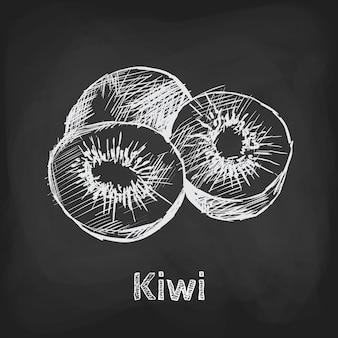 Elemento di utilizzo del design disegnato a mano dell'illustrazione di schizzo del kiwi