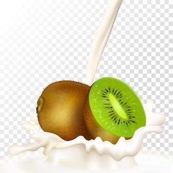 Kiwi con latte, frappè alla frutta. kiwi realistico e schizzi di latte su uno sfondo trasparente.