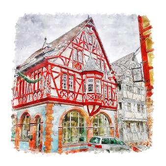 Illustrazione disegnata a mano di schizzo dell'acquerello della germania di klingenberg