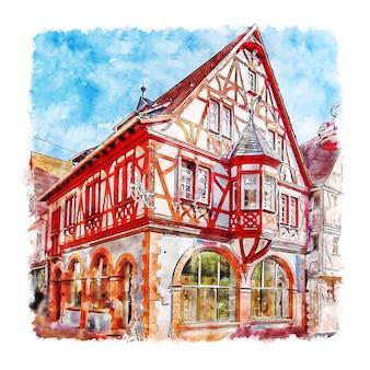 Illustrazione disegnata a mano di schizzo dell'acquerello di klingenberg bassa franconia baviera germania
