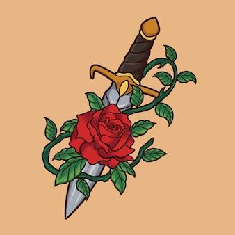 Coltello rose illustrazione