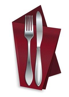 Coltello con forchetta su un tovagliolo rosso isolato su uno sfondo bianco. posate su un tovagliolo a quadretti rosso. realistico Vettore Premium